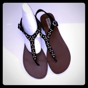 Black Suede Leather Flat Sandals